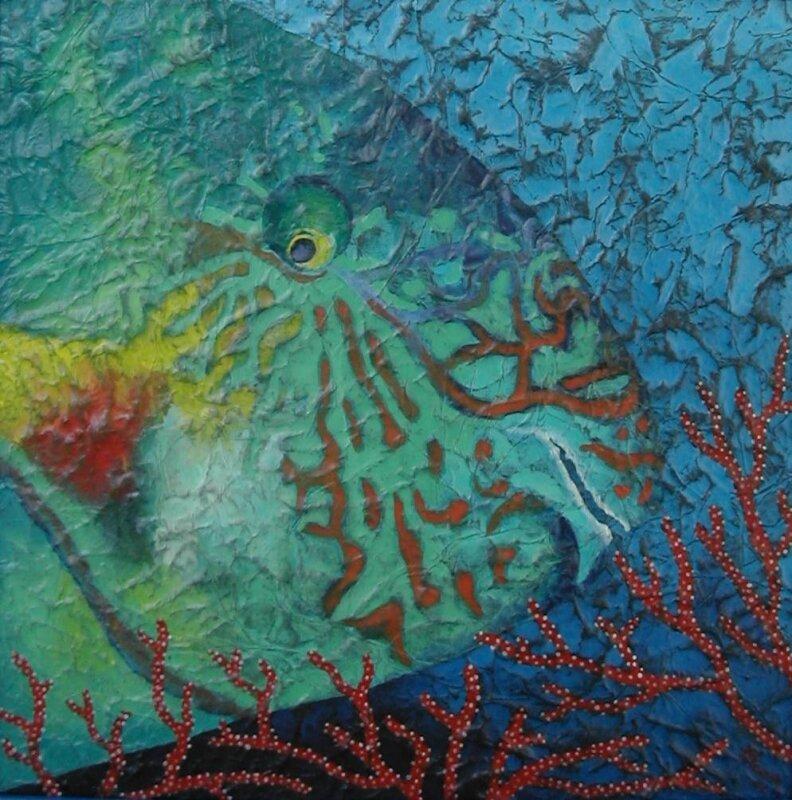 Poisson perroquet - acrylique sur bois - 40x40cm- 2003