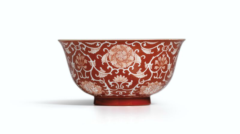 A Fine Coral Red Reverse Decorated Floral Bowl Seal Mark And Period Of Qianlong Alain R Truong
