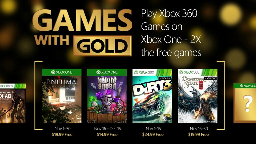 LES JEUX XBOX GAMES WITH GOLD DE NOVEMBRE