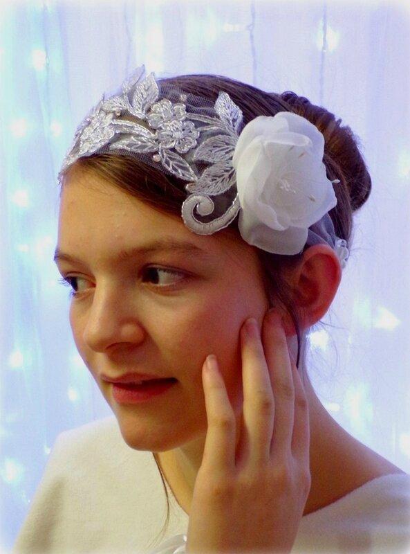 Headband dentelle fleurs mariée strass