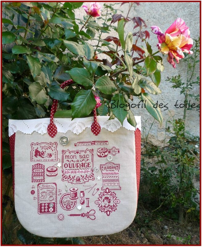 SAC A OUVRAGES DHAB FINI ROSES