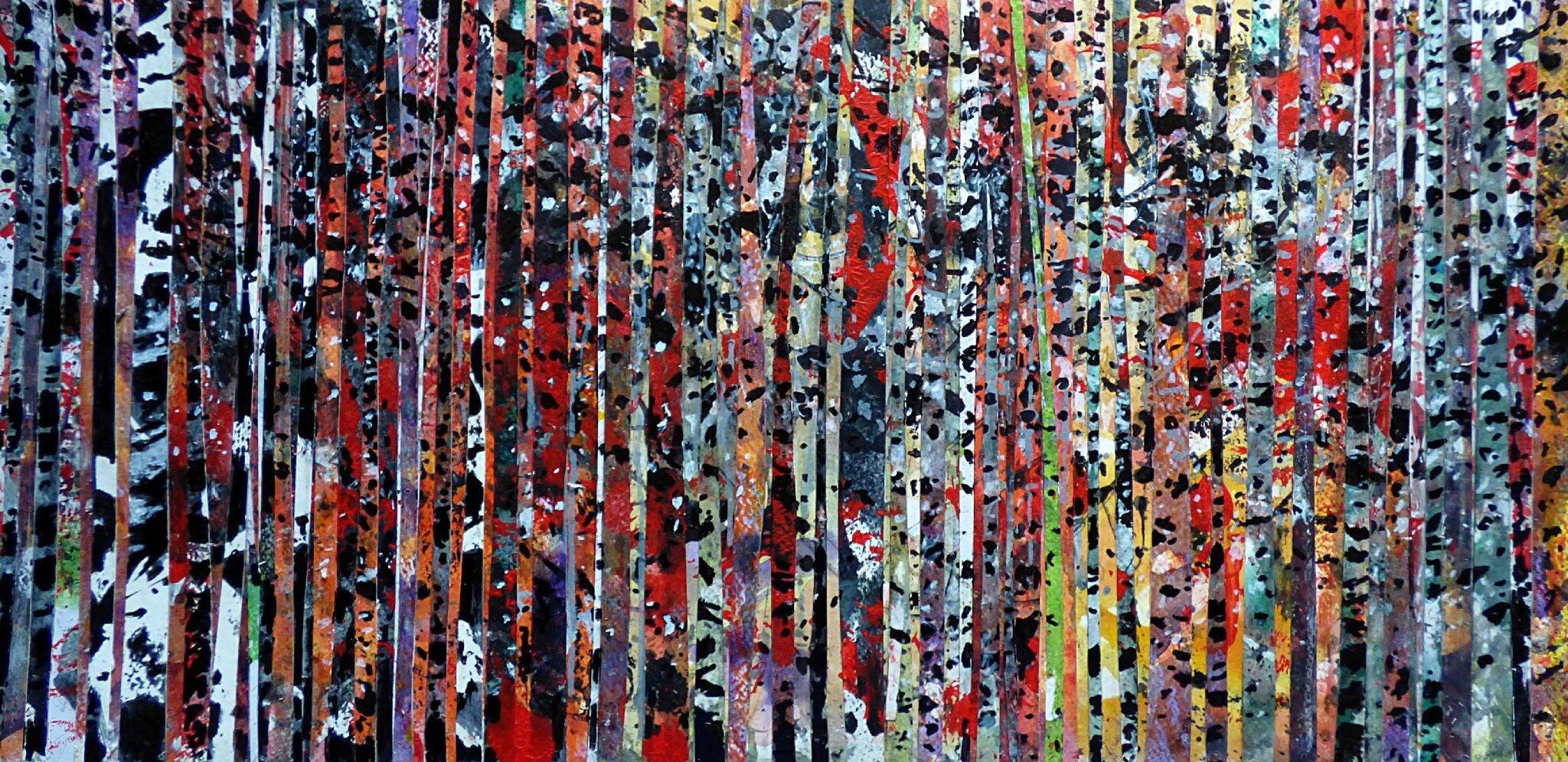 Forêt #63, aout 2016, techniques mixtes, 60 x 30 cm