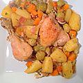 Poulet cocotte aux carottes, champignons et pdt