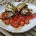 Roulades d'aubergines à la ricotta sur lit de tomates acidulées