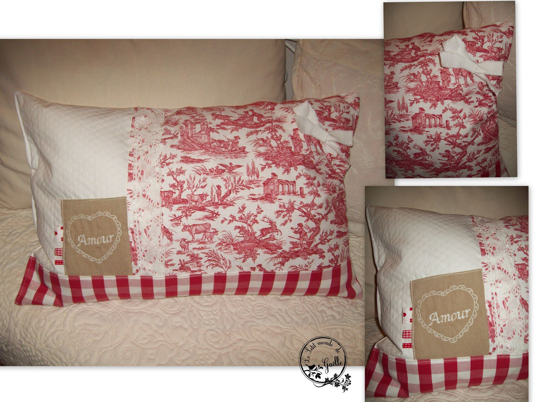coussin Patchwork rouge Amour...