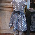 Robe OCTAVIE en coton taupe à pois blancs - Noeuds et boutons recouverts en coton noir (4)