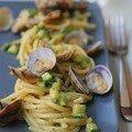 Spaghettis, courgettes, palourdes, gorgonzola