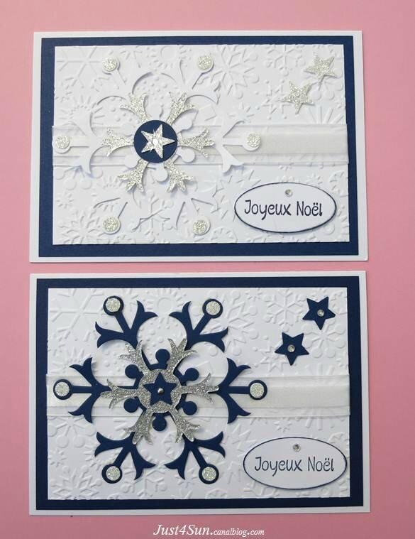 Carte Noël Flocons blancs et bleus _Sun