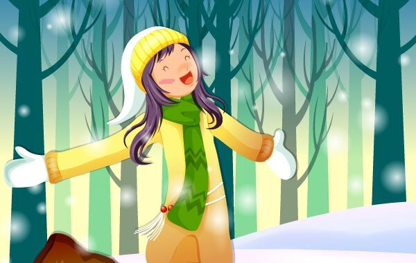 x-mas-vector-girl-is-standing-around-snowflakes-43719