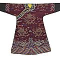A purple ground silk brocade dragon robe, 19th century