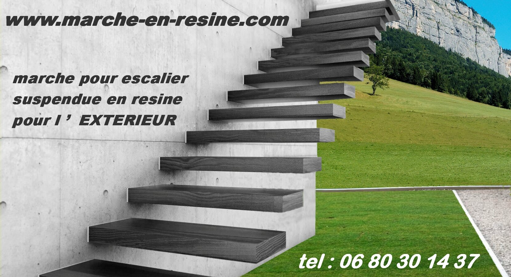 Escalier exterieur marche en resine pour exterieur swiming for Construire un escalier exterieur en beton
