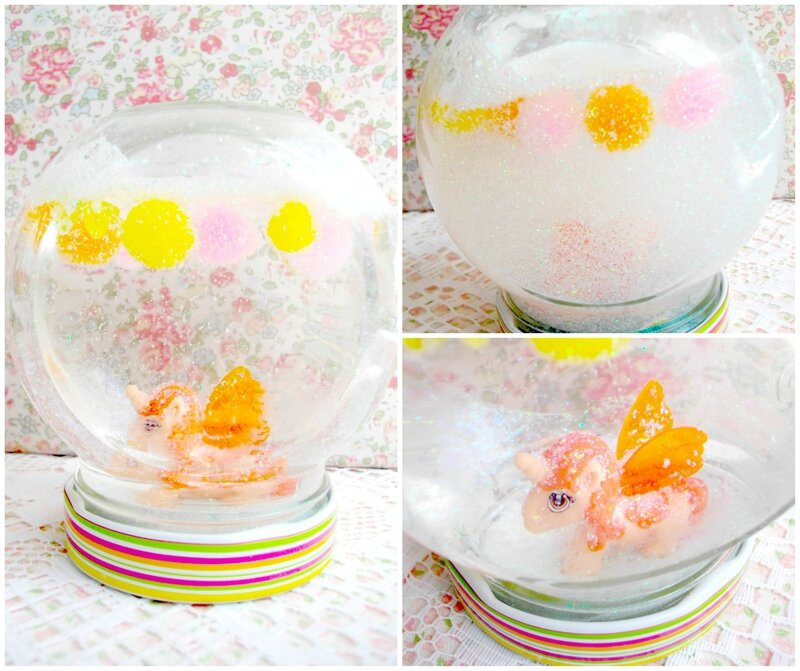 boule-neige-paillette-diy-licorne-pompons-kinder-pot-confiture