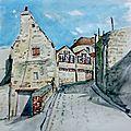 Rue de falaise en aquarelles