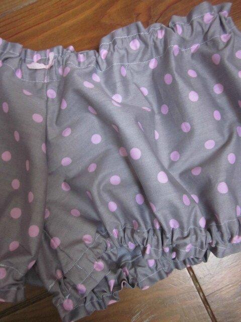 Culotte BIANCA en coton gris à pois rose - Noeud de vichy rose (1)