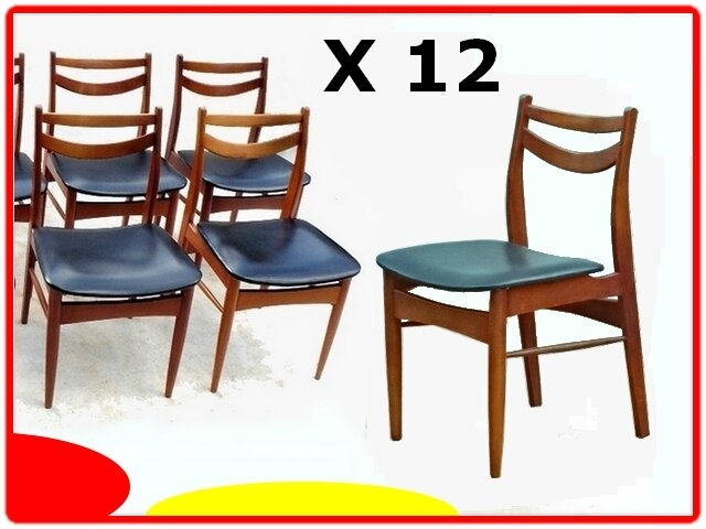 12 chaises teck vintage scandinave