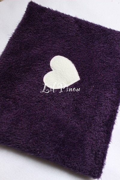 snood enfant r�versible coeur vanille-prune