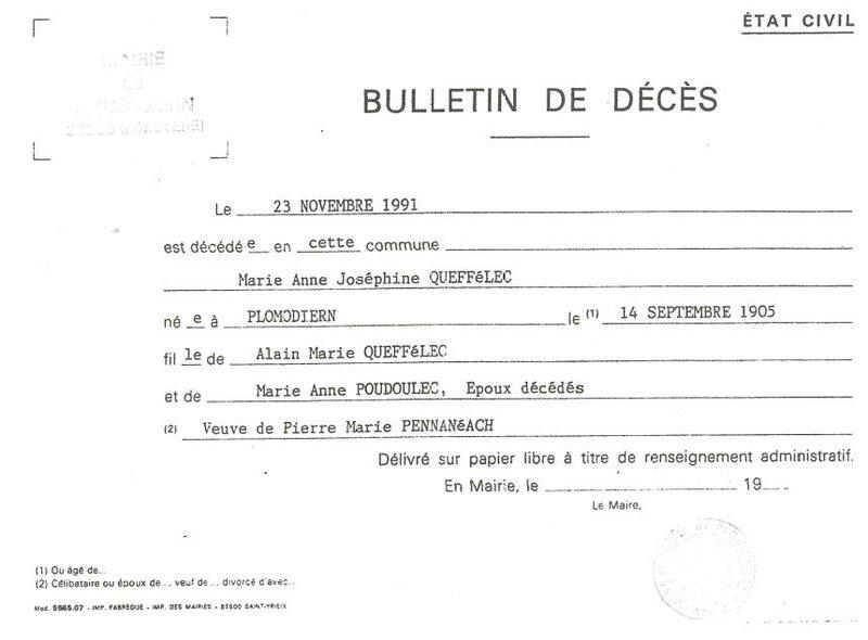 Bulletin de décès de Marie Anne Joséphine Q 23 novembre 1991