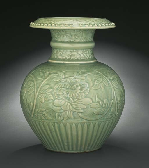 An important and extremely rare Longquan celadon pomegranate-form vase, shiliu zun, Yuan dynasty, 14th century