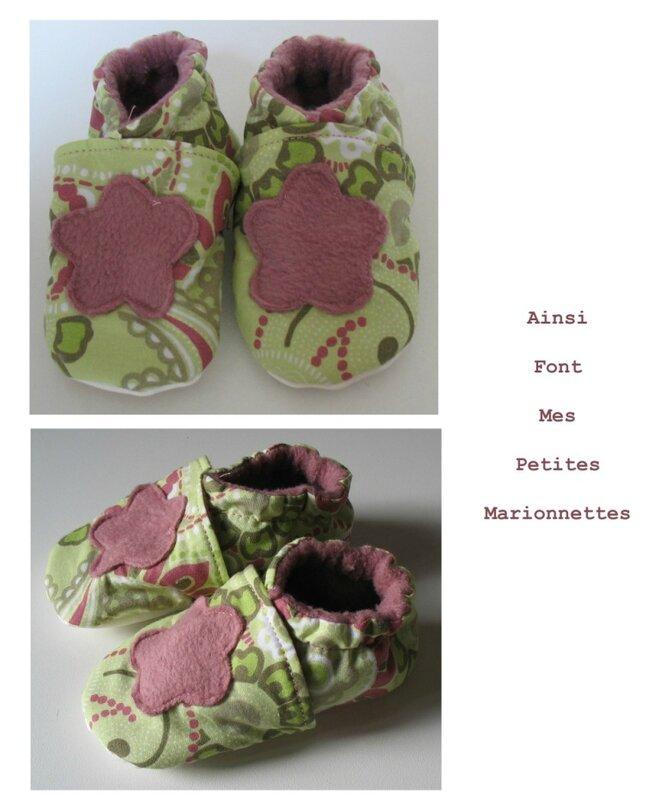 chaussons fleur rose vert