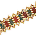 Antique gold, banded carnelian and moss agate bracelet