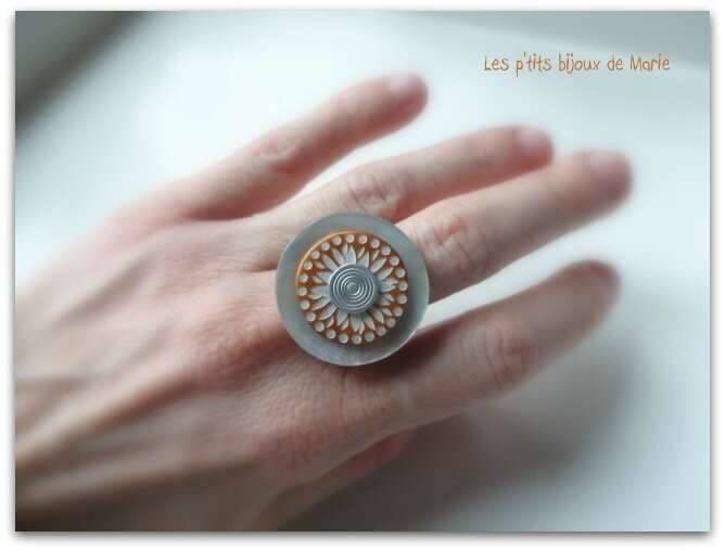 Bague nacre et orange 3