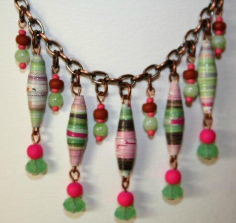 Collier perles papier Rose et Vert d'eau GROS PLAN