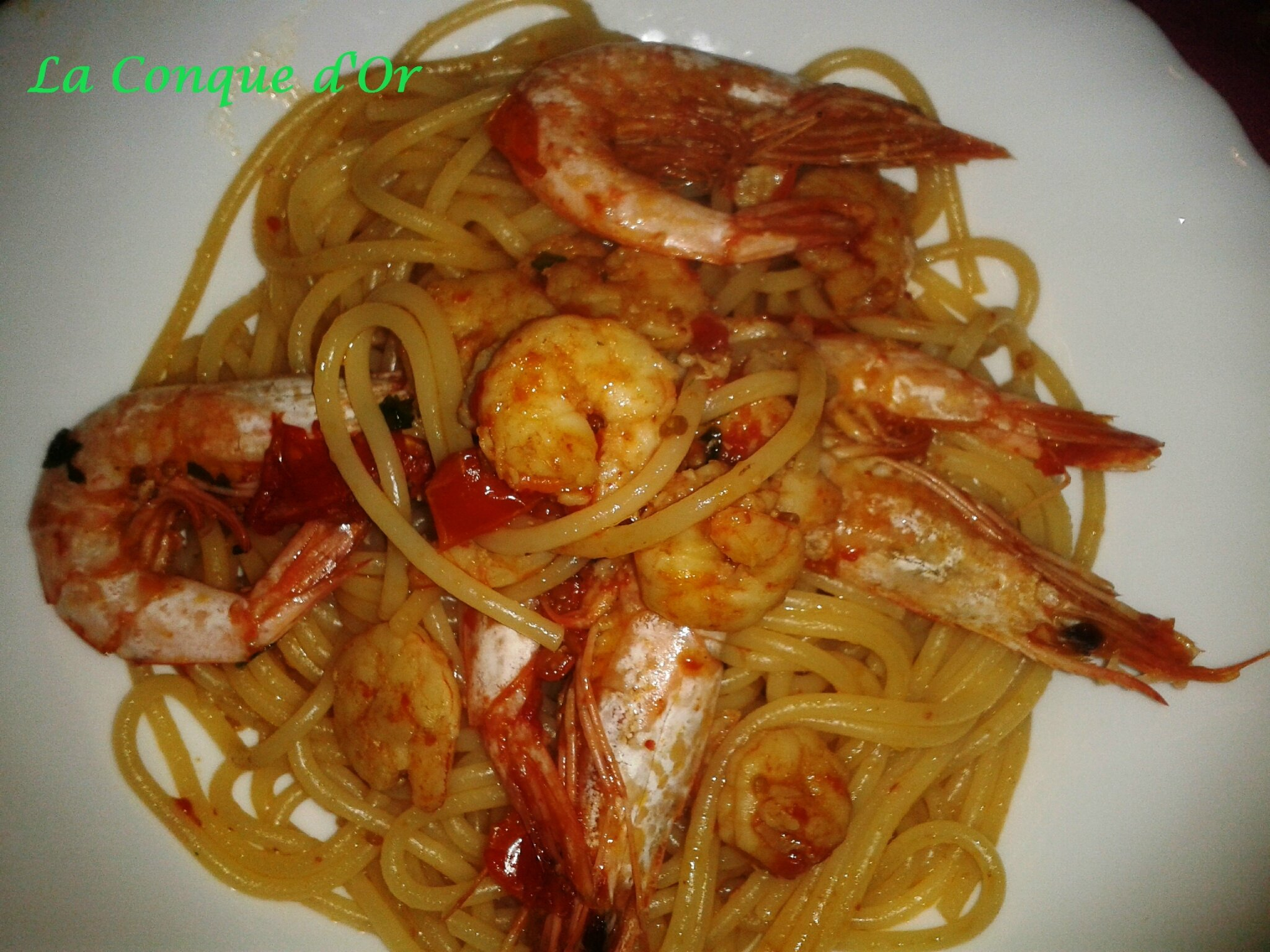 Spaghetti aux gambas- Recettes de Enzo
