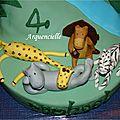 Gâteau Madagascar jungle modelages vue dessus