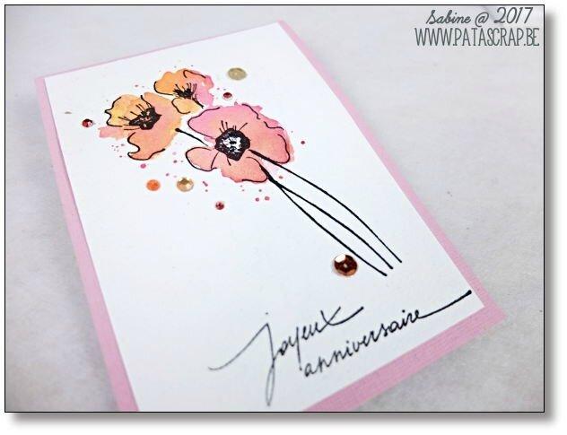 carte coquelicots roses