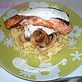 Tagliatelle au saumon, champignon et créme fraiche