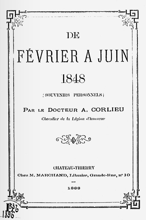 Dr Corlieu de février à juin 1848 couv