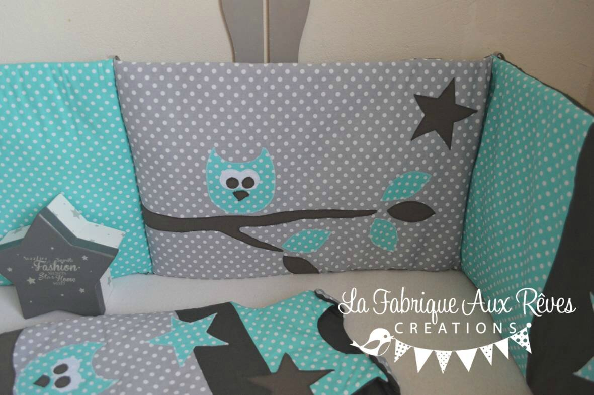 tour lit et gigoteuse hibou toiles turquoise cara be et. Black Bedroom Furniture Sets. Home Design Ideas