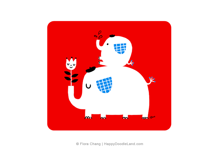 Big+and+Little+Elephants+©+Flora+Chang+-+Happy+Doodle+Land