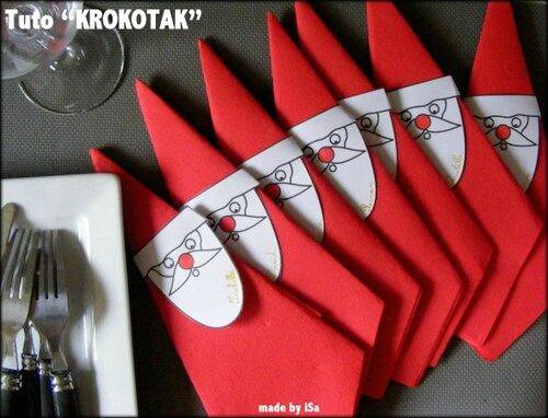 Tables de fêtes: marque-place serviette père Noël