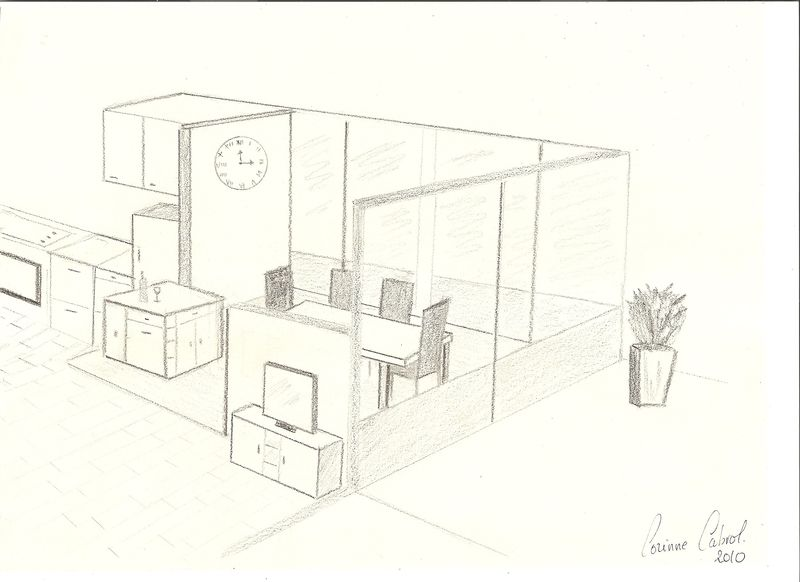 Perspective Dessin Salon : Croquis salon salle à manger en perspective decor in