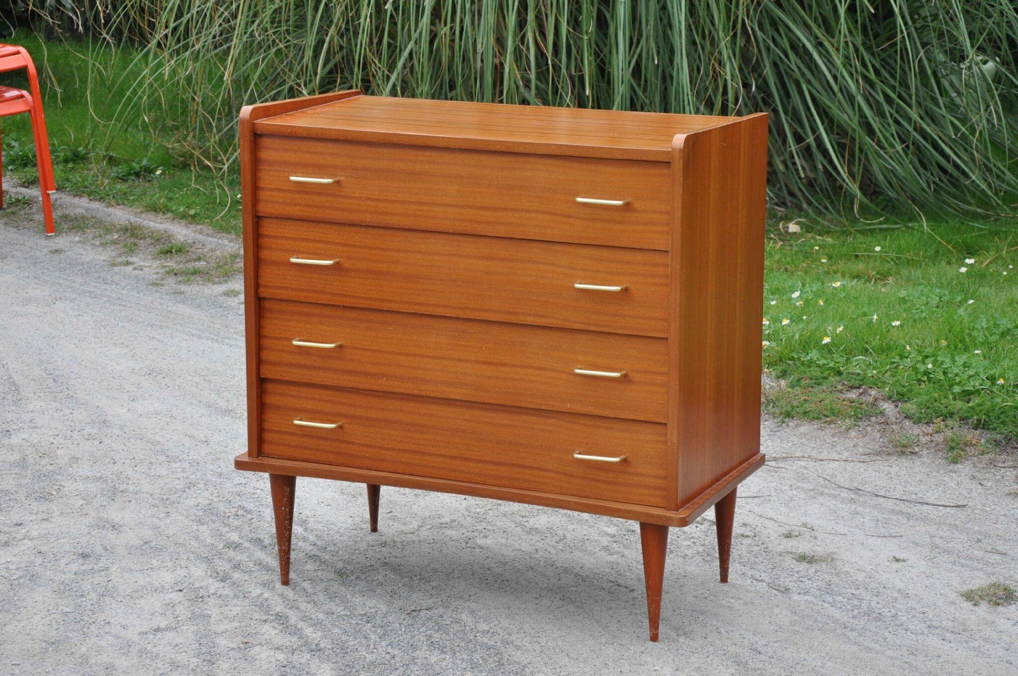 commode annees 50 acajou article vendu antiquit s du vingti me. Black Bedroom Furniture Sets. Home Design Ideas