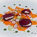 Ravioles de betterave rouge fourrées avec le nouveau fromage