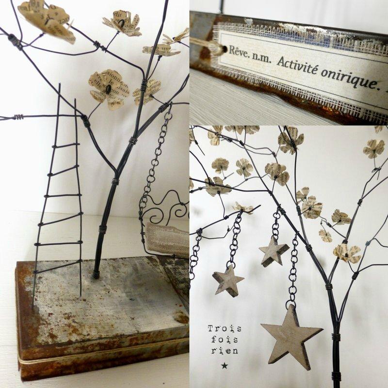 Un p'tit coin pour rêver, fil de fer, bois, papier, lin, métal, sculpture fil de fer, arbre fil de fer (2)