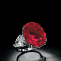 An impressive ruby and diamond ring