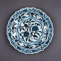 Dish with flowers. Porcelain with underglaze cobalt-blue decoration. Ming dynasty, Yongle period, AD1403–1424.
