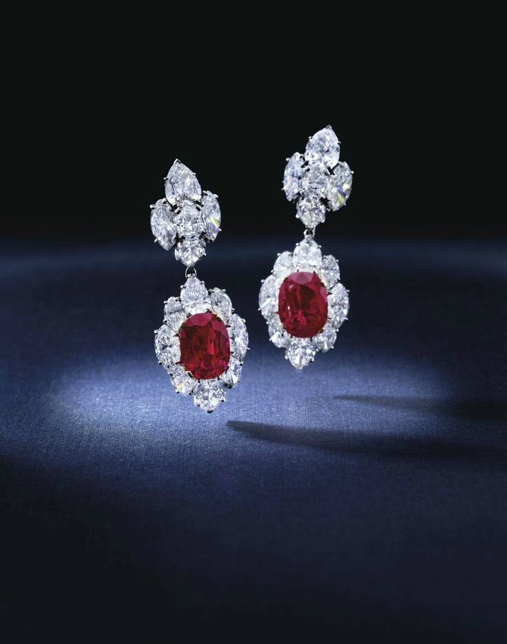 Exceptional Pair of Ruby and Diamond Pendent Ear Clips, Bulgari
