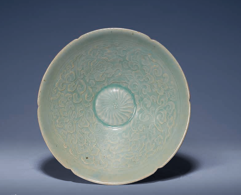 A Korean moulded celadon deep bowl, Korea, Koryo dynasty, 12th century
