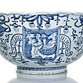 An extremely rare 'winged hydra' blue and white porcelain bowl inscribed