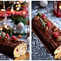 Bûche traditionnelle marron framboise