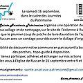 Organisation de la journée du patrimoine du 16 septembre à sainte-anastasie