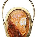Italian, 16th century, double-sided cameo with a profile of a male saint and pyrrhus of epirus