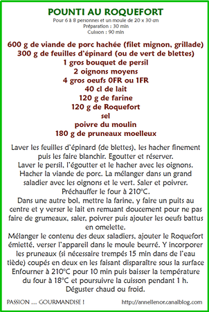 Pounti au roquefort_fiche