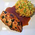 Poulet mariné au cumin et riz safrané aux carottes et courgettes