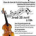 Concert de musique baroque à rue des artistes - jeudi 25 avril !!!