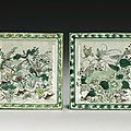 A pair of famille-verte square dishes, qing dynasty, kangxi period